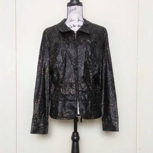 Birch Hill Black Gold Zip Up Women's Jacket Size L